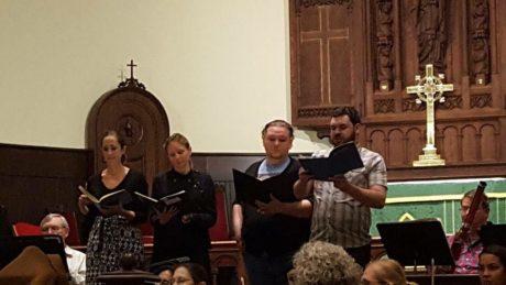 Jessica Satava, Catrin Davies, Justin Gonzales and Jeffrey Gates in rehearsal. Photo courtesy of Live Arts Maryland.
