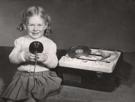 ane Ridley recording on her father's Grundig tape recorder in the 1950s. Photo courtesy of the artist.