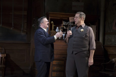 Nathan Lane as Walter Burns and John Goodman as Sheriff Hartman in 'The Front Page.' Photo by Julieta Cervantes.