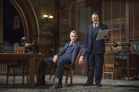 John Slattery as Hildy Johnson and Nathan Lane as Walter Burns in 'The Front Page.' Photo by Julieta Cervantes.