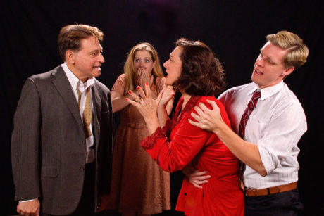 L to R: Joseph Mariano (George), Sarah Wade (Honey), Debbie Barber-Eaton (Martha), and Ron Giddings (Nick). Photo by Colburn Images.