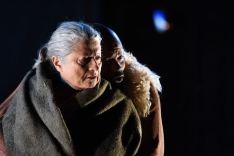 Janis Dardaris (as Mother Courage), Forrest McClendon (as The Cook). Photo by Shawn May.