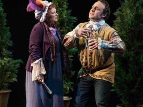 Cynthia Darlow (Mrs. Hardcastle) and Richard Thieriot (Tony Lumpkin). Photo by Marielle Solan.