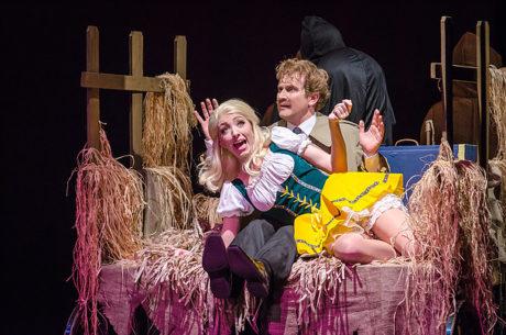 Lindsey Landry (Inga) and Jeremy Goldman (Frederick Frankenstein). Photo by Mort Shuman.