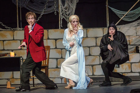 L to R: Jean Berard (Frau Blücher), Ashley Gerhardt (Elizabeth), and Matt Wetzel (Igor). Photo by Mort Shuman.