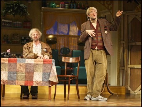 Nick Kroll and John Mulaney in Oh, Hello on Broadway. Photo by Joan Marcus and Christian Frarey.