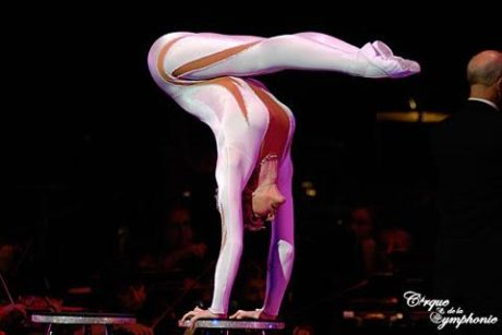 Contortionist Elena Tsarkova (in the white leotard). Photo courtesy of Cirque
