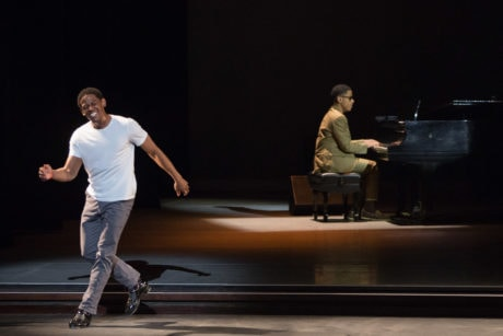 Jared Grimes paying tribute to Gregory Hines and Sammy Davis Jr. with Matthew Whitaker on piano. Photo by Teresa Wood.