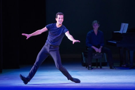 (Robert Fairchild with Damian Woetzel paying tribute to Gene Kelly, Fred Astaire, and Jacques d'Amboise. Photo by Teresa Wood.