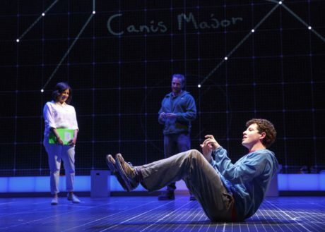 Adam Langdon, foreground, with Maria Elena Ramirez, and Gene Gillette. Photo by Joan Marcus.