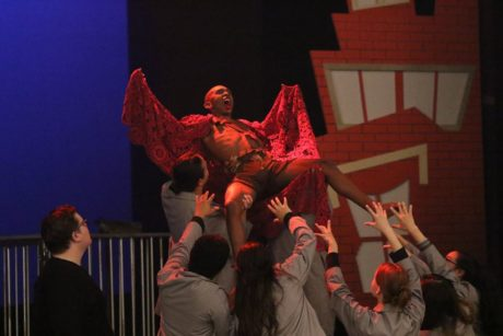 David Singleton (Edgar/Batboy) and the Company of 'Bat Boy: The Musical.' Photo courtesy of Montgomery College.