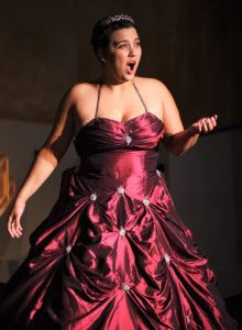 Christina Massimei (as Katherina Cavalieri) an extraordinarily talented operatic soprano enhances the musical focus of Julie Janson's vision for Amadeus. Photo by Rob Cuevas, Providence Players.