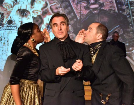 """Venticelli Debora Crabbe (L) and Bobby Welsh (R), keep Salieri (David Whitehead) """"in the know"""" in the Providence Players production of Amadeus. Photo by Chip Gertzog, Providence Players."""