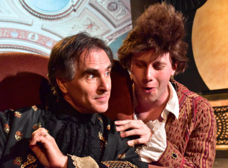 David Whitehead (L) as Antonio Salieri and Mike Rudden (R) as Wolfgang Amadeus Mozart. Photo by Chip Gertzog, Providence Players