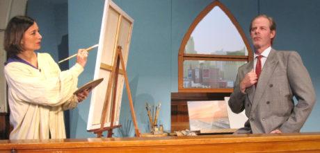 Erika Amato (Marion Froude) paints Leander Nolan's (Tom Bryn) portrait. Photo by Gayle Stahlhuth.