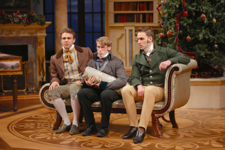 Brandon McCoy (Charles Bingley), William Vaughan (Arthur de Bourgh), and Danny Gavigan (Fitzwilliam Darcy). Photo by Grace Toulotte.