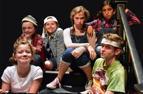 The Worst Kids in the world? The Herdman kids in the Providence Players production of The Best Christmas Pageant Ever. L to R Front: Aerial Indirisano (Ollie), Jack Wright (Ralph) Back: Gavin Friel (Claude) Erika Friel (Gladys), Nora Rice (Imogene), Kashvi Ramani (Loretta). Photo by Chip Gertzog, Providence Players.
