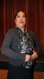 Sally Ann Flores as The Reverend. Photo by Rob Cuevas, Providence Players.