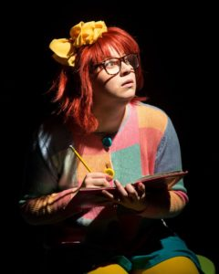 Emily Raines as Junie B. Jones. Photo courtesy of Maryland Ensemble Theatre.
