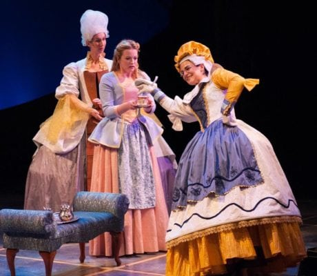 Mrs. Potts and Madame de la Grande Bouche attempt to calm Belle. [L-R: Maggie Robertson, Jessica Lauren Ball, and Rachel Zampelli. Photo courtesy of Imagination Stage.
