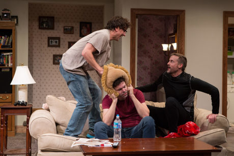 Michael Tisdale, Avery Clark, and Bruch Reed in 'Straight White Men. P'hoto by Teresa Wood.