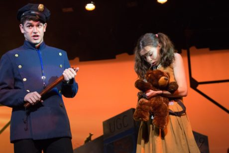 Teo Topa and Gabby Anifantis in Urinetown. Photo courtesy of Judy Licht.