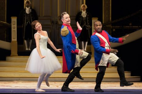 Lisette Oropesa (Marie), Kevin Burdette (Sulpice), and Lawrence Brownlee (Tonio). Photo by Scott Suchman.