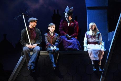 Rhett Guter (Bert), Henry Mason (Michael Banks), Patricia Hurley (Mary Poppins), and Audrey Kilgore (Jane Banks). Photo by Stan Barouh.