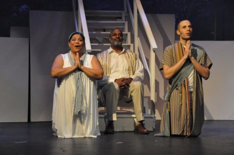 Center: Father (Kevin Sockwell) Eve (Cheryl J. Campo) and Adam (Kevin James Logan) . Photo by Elli Swink.