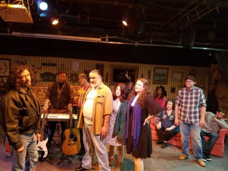L to R: The cast of 'Memories & Legends': Christopher Overly, Paul Davis, Leah Livengood. Background Pierre Burgess, Daniel Douek, Lauren Patton, Amy C. Kraft, Linda Whiting, Susan L. Smithers, Michael Reeher, and Jamie Brill. Phot by Rachel Duda.