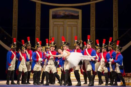 Marie (Lisette Oropesa) and all her 'fathers' in 'The Daughter of the Regiment.' Photo by Scott Suchman.