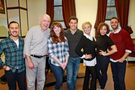 The cast of Marry Harry (l to r): Ben Chavez, Lenny Wolpe, Morgan Cowling, David Spadora, Robin Skye, Claire Saunders, and Jesse Manocherian. Photo by Matthew Gurren.