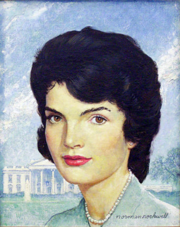 """Norman Rockwell (1894-1978), Portrait of Jackie Kennedy, 1963. Oil on canvas, 14"""" x 11"""". Story illustration for """"How Jackie Restyled the White House,"""" Saturday Evening Post, October 26, 1963. Collection of Mica and Richard Hadar. ©SEPS: Licensed by Curtis Licensing, Indianapolis, IN."""