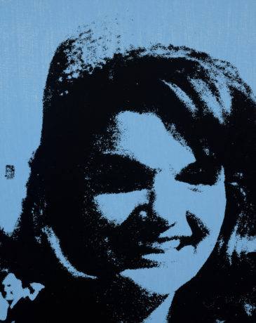 """Andy Warhol (1928-1987), Jackie, 1964. Synthetic polymer paint and silkscreen ink on canvas, 20"""" x 17"""". Williams College Museum of Art; Partial gift of The Andy Warhol Foundation for the Visual Arts, Inc. and museum purchase from the John B. Turner '24 Memorial Fund and Karl E. Weston Memorial Fund. ©The Andy Warhol Foundation for the Visual Arts, Inc. / Artists Rights Society (ARS), New York."""