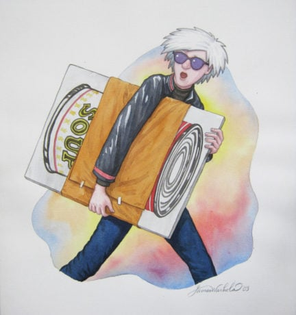 """James Warhola, Delivery to the Taxi-Cab King, 2002. Story illustration for Uncle Andy's. Pencil and watercolor on paper, 10 ¼"""" x 9 ½"""". ©James Warhola. All rights reserved."""