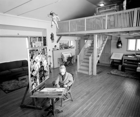 Norman Rockwell in his Stockbridge studio, 1960. Photo by Bill Scovill. Norman Rockwell Museum Collections. ©Norman Rockwell Family Agency. All rights reserved.