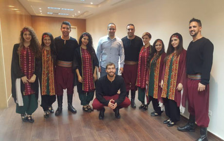 Rami Khader with members of the Diyar Dance Theatre. Photo courtesy Diyar Dance Theatre.