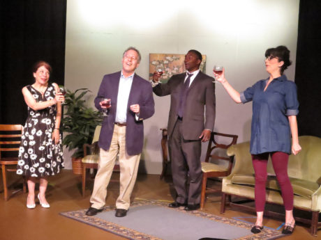 Michelle Loor Nicolay, Jim Golden, Marc Johnson, and Kellie Cooper in I Just Want to Say Hello. Photo by Mike D'Angelo.