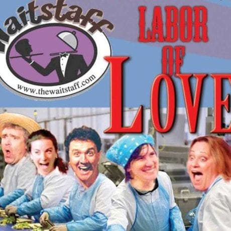 Jim Boyle, Sara Carano, Chris McGovern, Joanne Cunningham, and Gerre Garrett in a promotional image for Labor of Love. Photo by Ryan McMenamin.