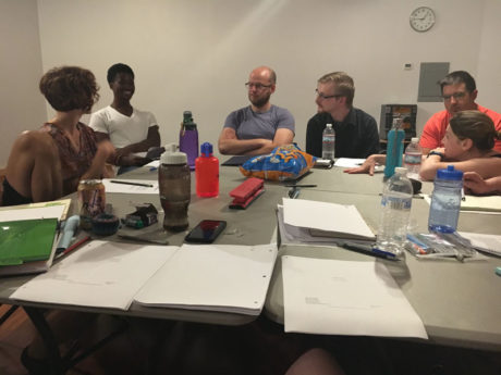 Leah Holleran, Gary Lee Mapp, Andrew Chupa, Jaried Kimberly, Anthony Cicamore, and Lesley Berkowitz at the first Read-Through. Photo by Kat Wilson.