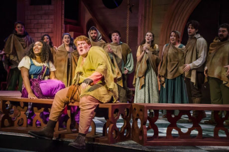 Sierra Wilson as Esmeralda, Patrick J. Walsh as Hunchback, and ensemble. Photo courtesy Upper Darby Summer Stage.