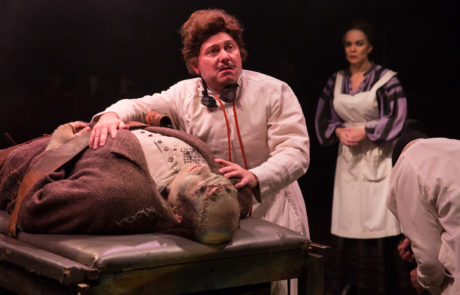 Christopher Kabara, Jeffrey Shankle, and Tess Rohan in Young Frankenstein. Photos courtesy of Toby's Dinner Theatre.