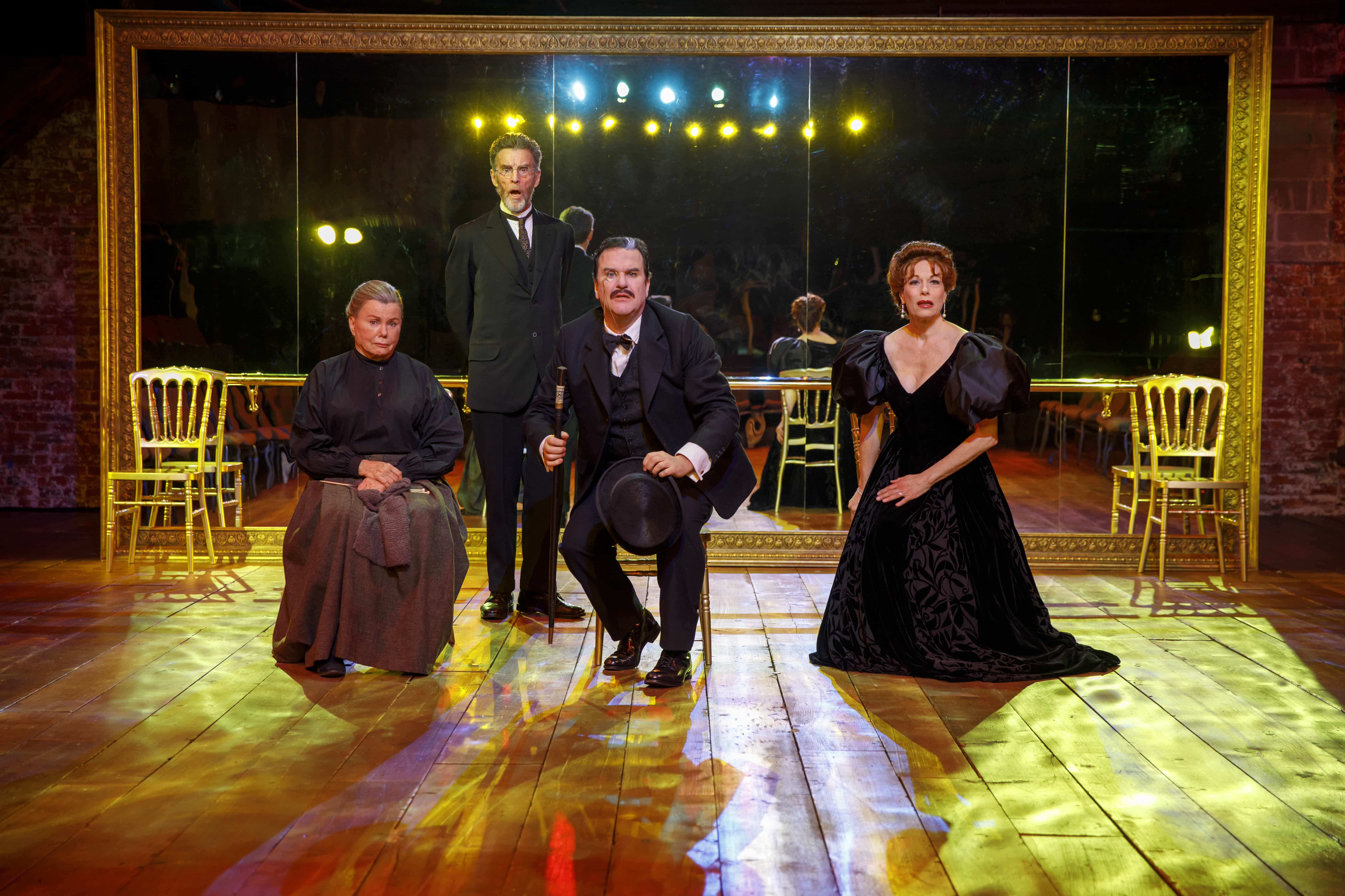Marsha Mason, John Glover, Douglas Hodge, and Marin Mazzie in Fire and Air. Photo by Joan Marcus.