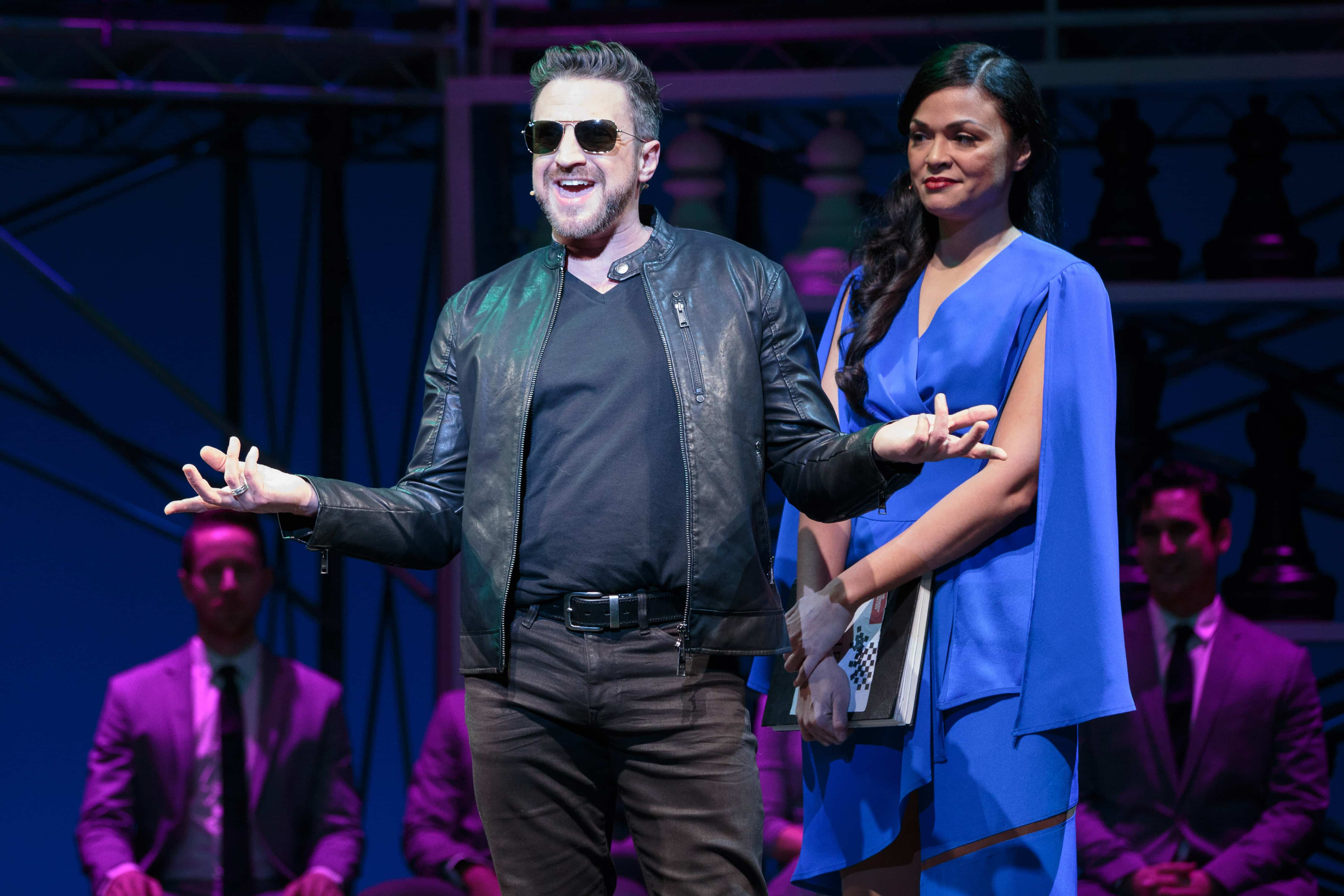Raul Esparza and Karen Olivo in Chess. Photo by Teresa Wood.