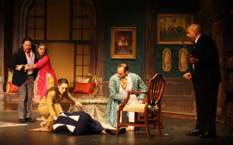 Erin Lorenz, James Huchla, Christa Kronser, Jeanne Louise, Andrew Parr, and Wendell Holland in The Musical Comedy Murders of 1940. Photo by Nathan Bowen.