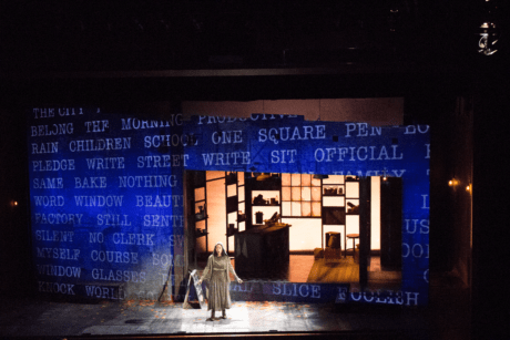 Projection design on set of Where Words Once Were at The Kennedy Center. Photo courtesy of Patrick Lord.