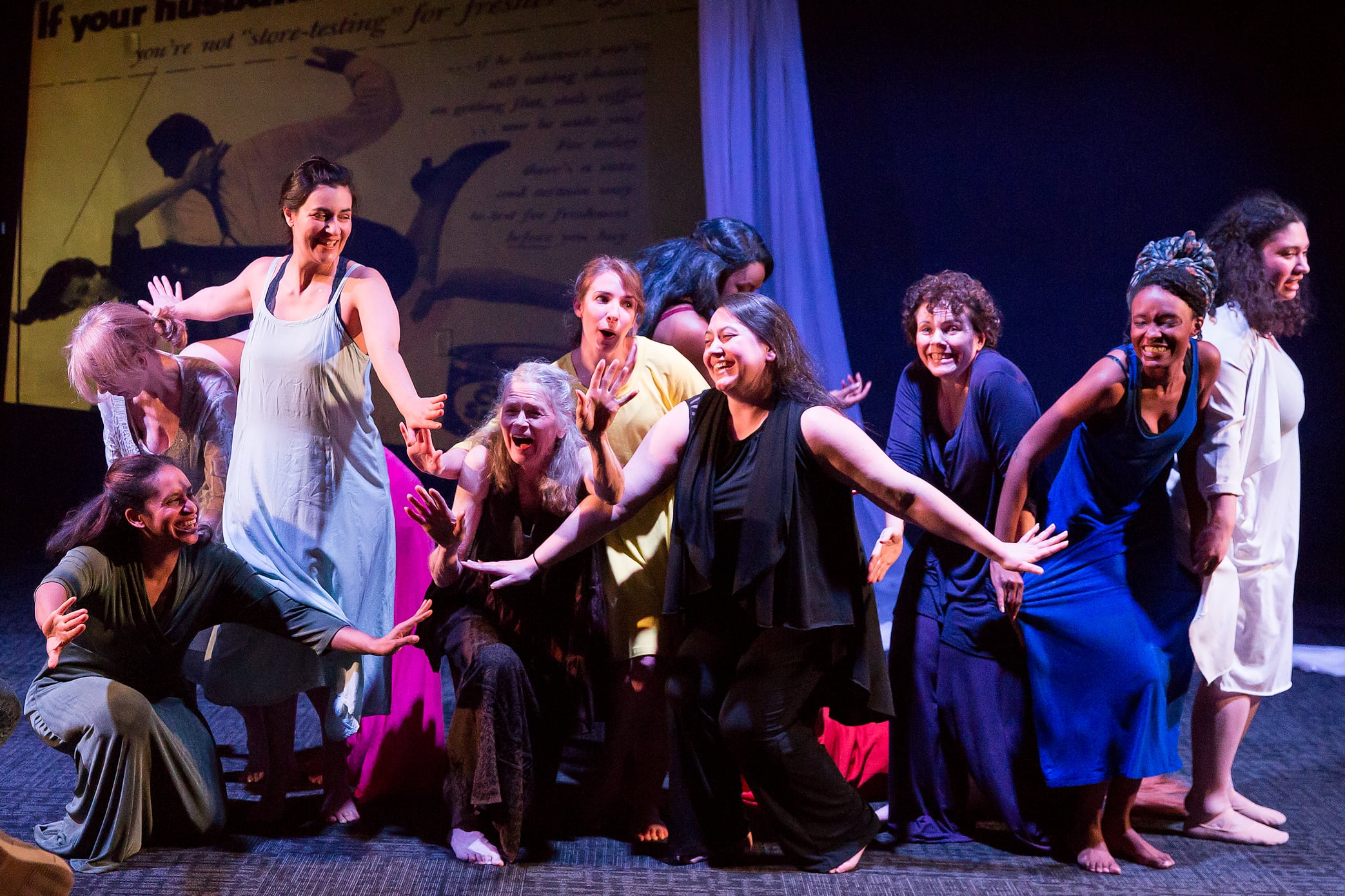The ensemble of The Trojan Women Project. Photo by Claire Kimball.