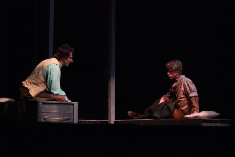 Noah Peterson as Henry David Thoreau, and Jackson Schombert as Bailey in The Night Thoreau Spent in Jail. Photo by Madison McVeigh.