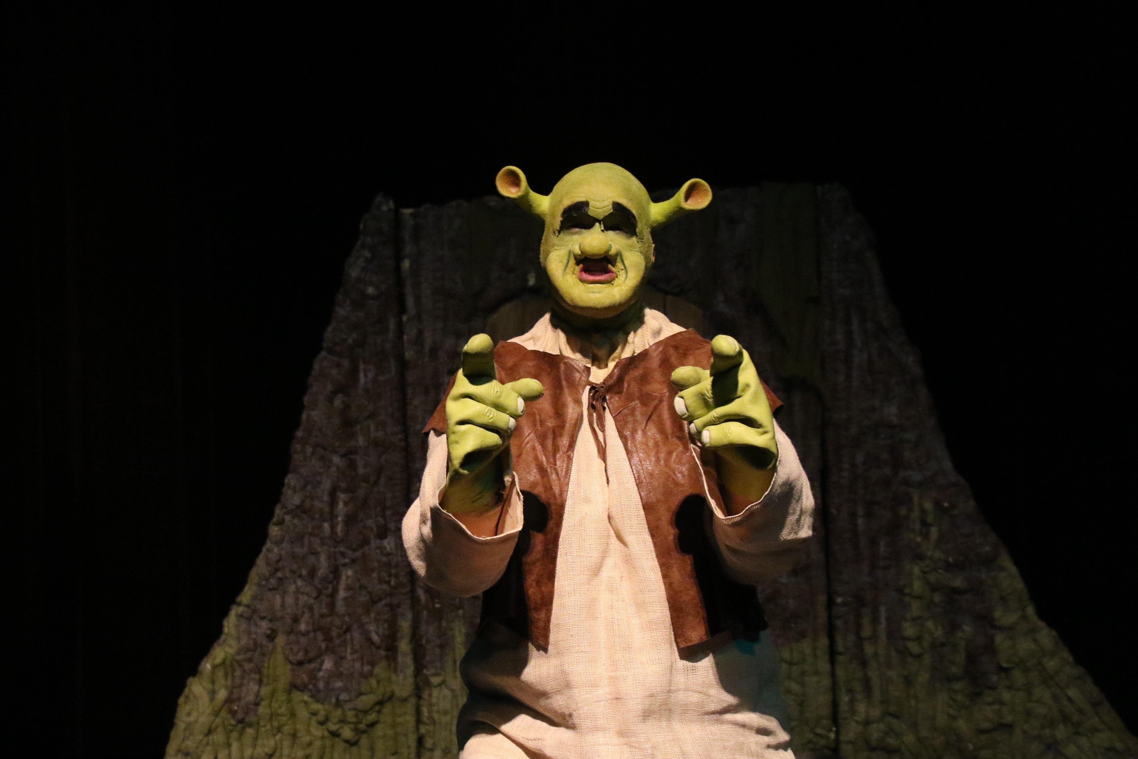 Dean Davis as Shrek in Charm City Players' production of Shrek the Musical. Photo by Shealyn Jae Photography.