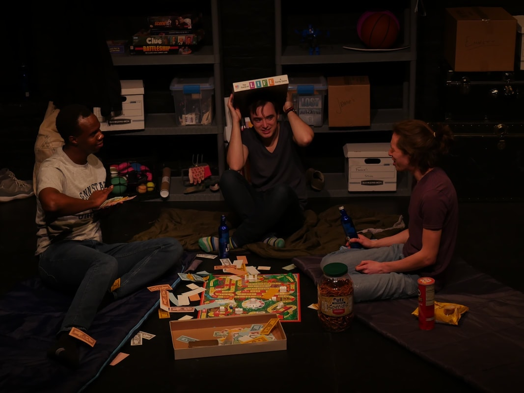 Philip Kershaw (Marcus), Colton Needles (Emmett) and Alex Lew (Colby) in A Burial Place. Photo by Elizabeth Floyd.